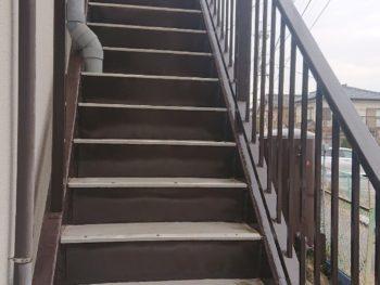 我孫子市アパート 鉄骨階段 塗装